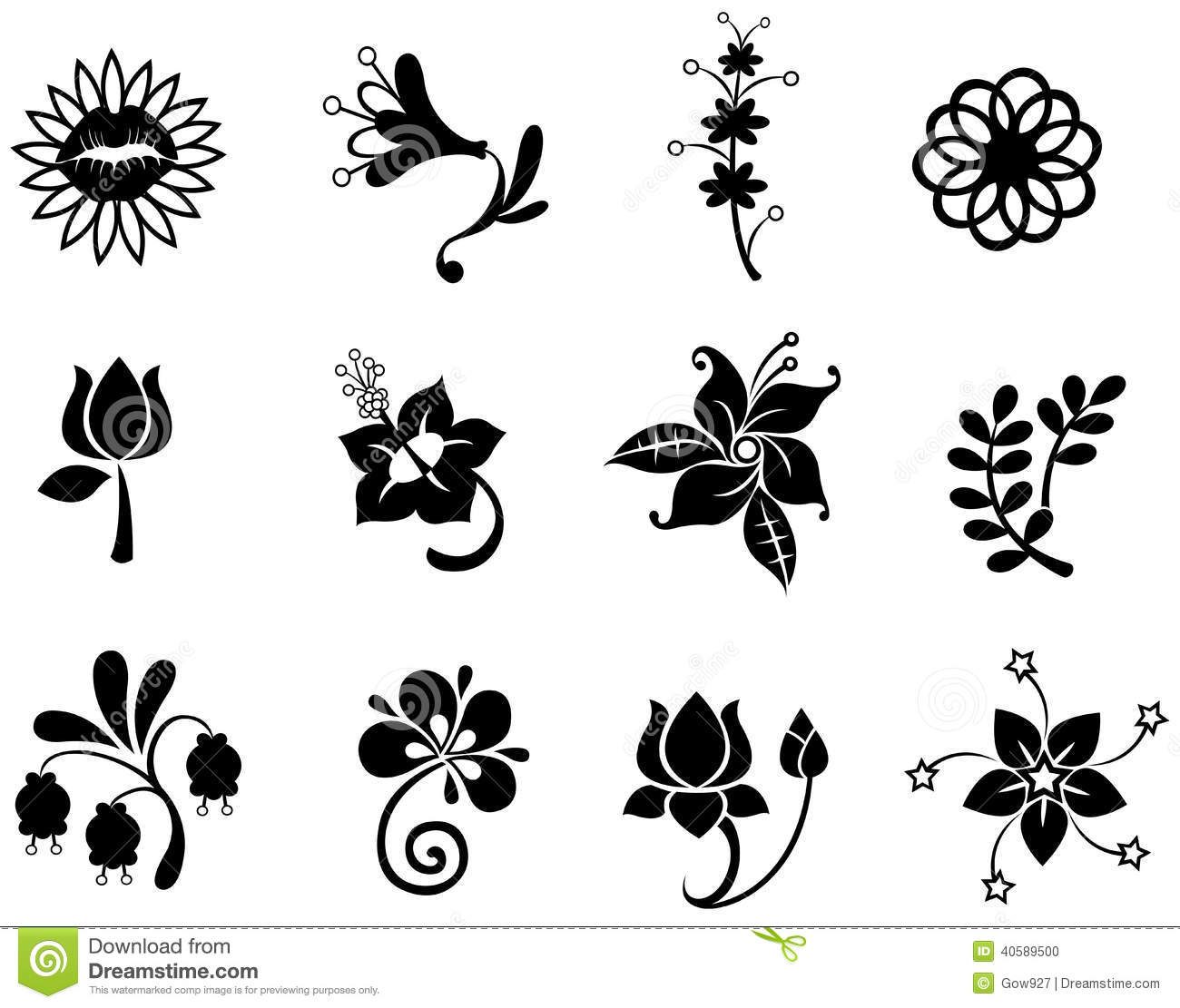 Fantasy Flower Icon Silhouettecollection Set 2(vec Stock Vector ...