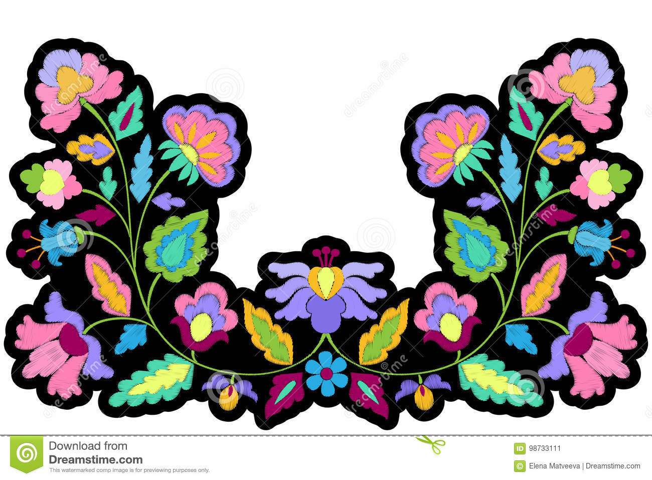 Fantasy flowers embroidery symmetric patch stock vector