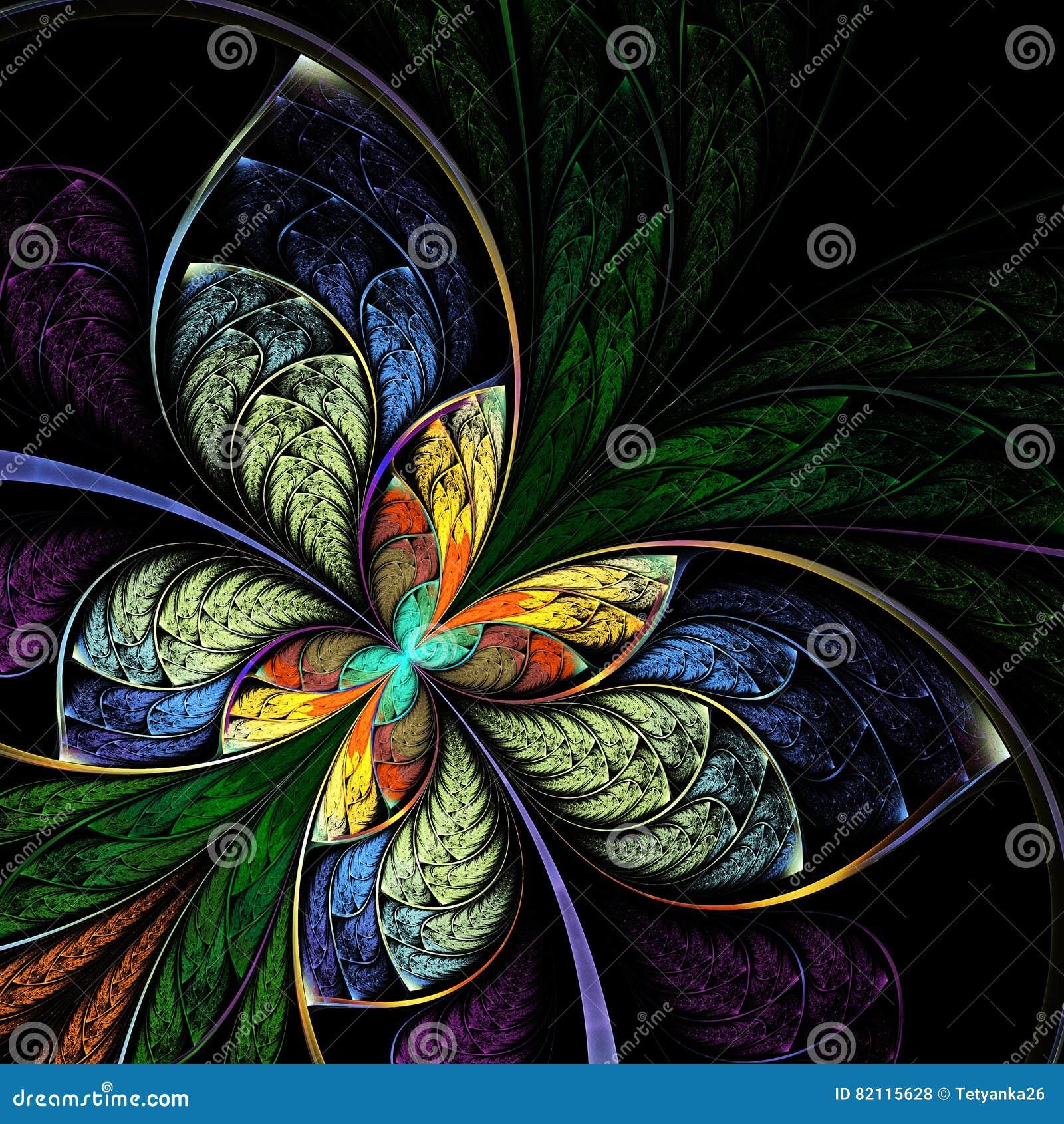 Fractal Black Flower Free Stock Photo: Fantasy Fractal Butterfly, Flower, Floral Pattern Stock
