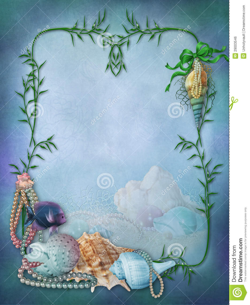 Fantasy frame with shells and fish stock illustration for Fish photo frame