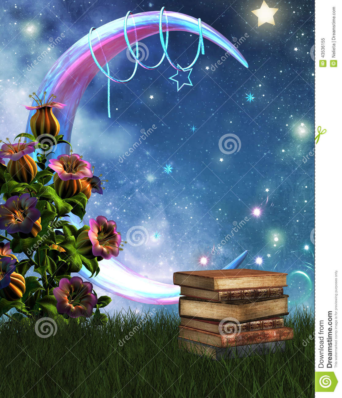 Fantasy Garden And Books