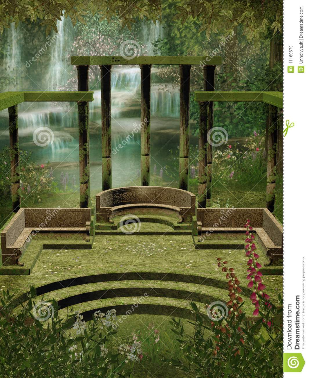 Fantasy Garden With Columns Royalty Free Stock Images Image