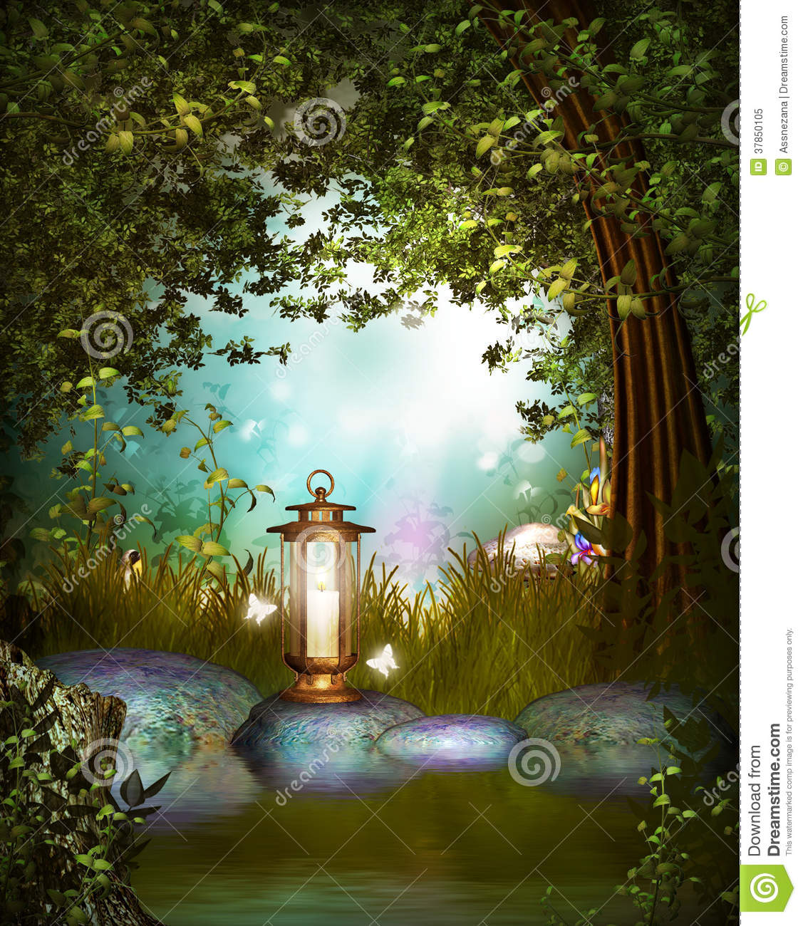 Fantasy Garden with lamp stock illustration. Illustration ...