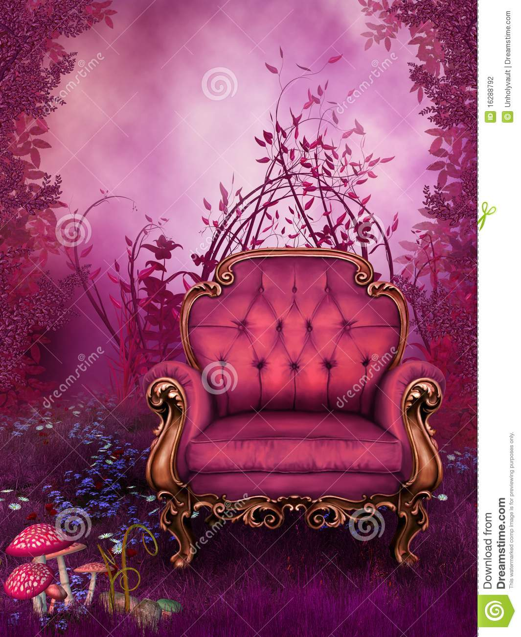 Fantasy Garden With A Pink Chair Stock Illustration