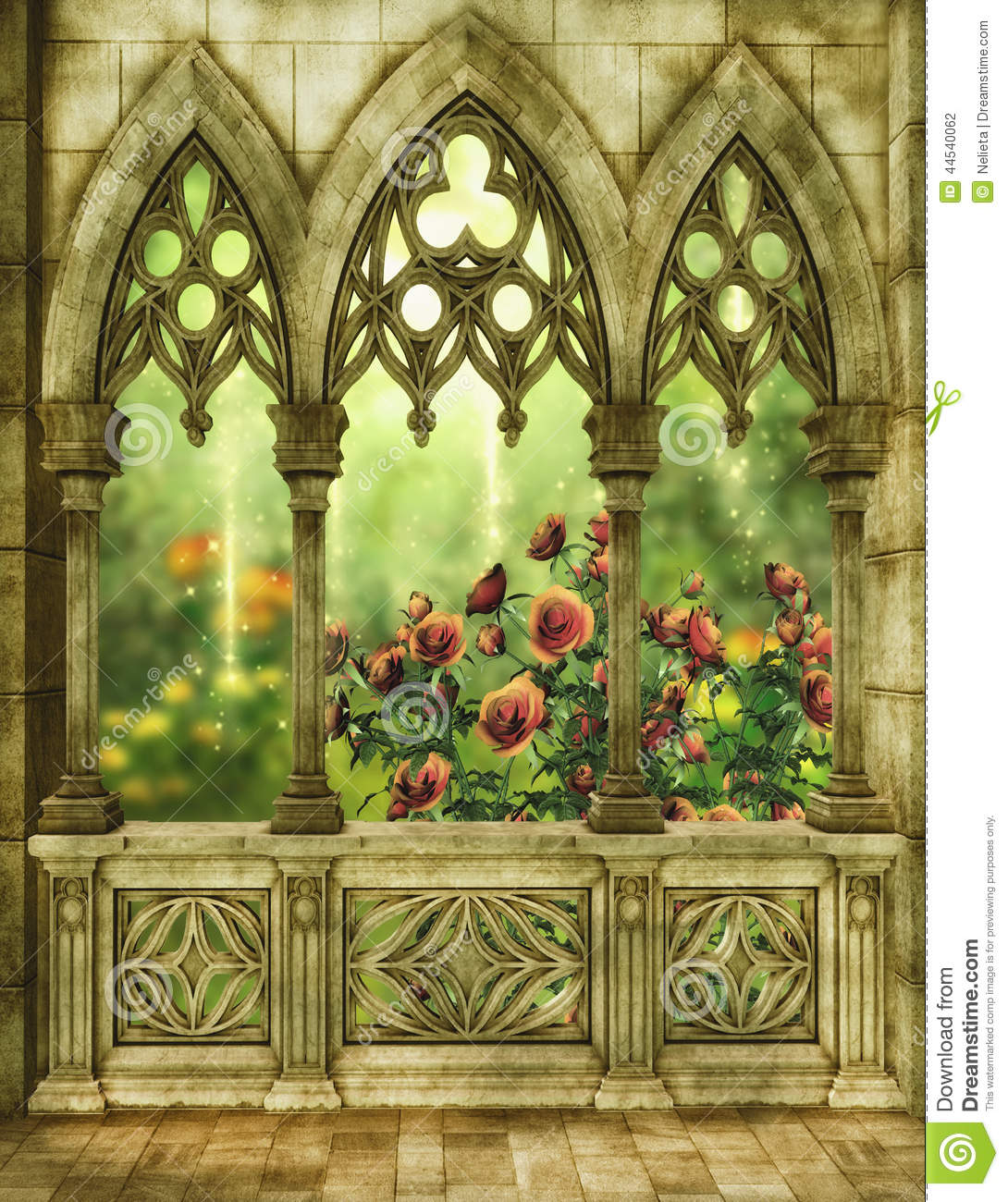 Fantasy Garden With Roses Stock Illustration Of