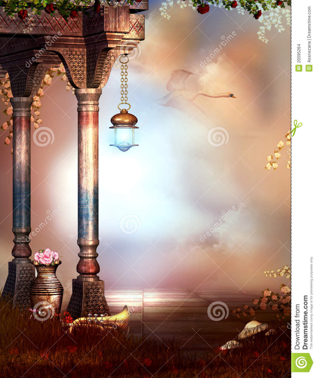 fantasy garden with a sky background stock illustration