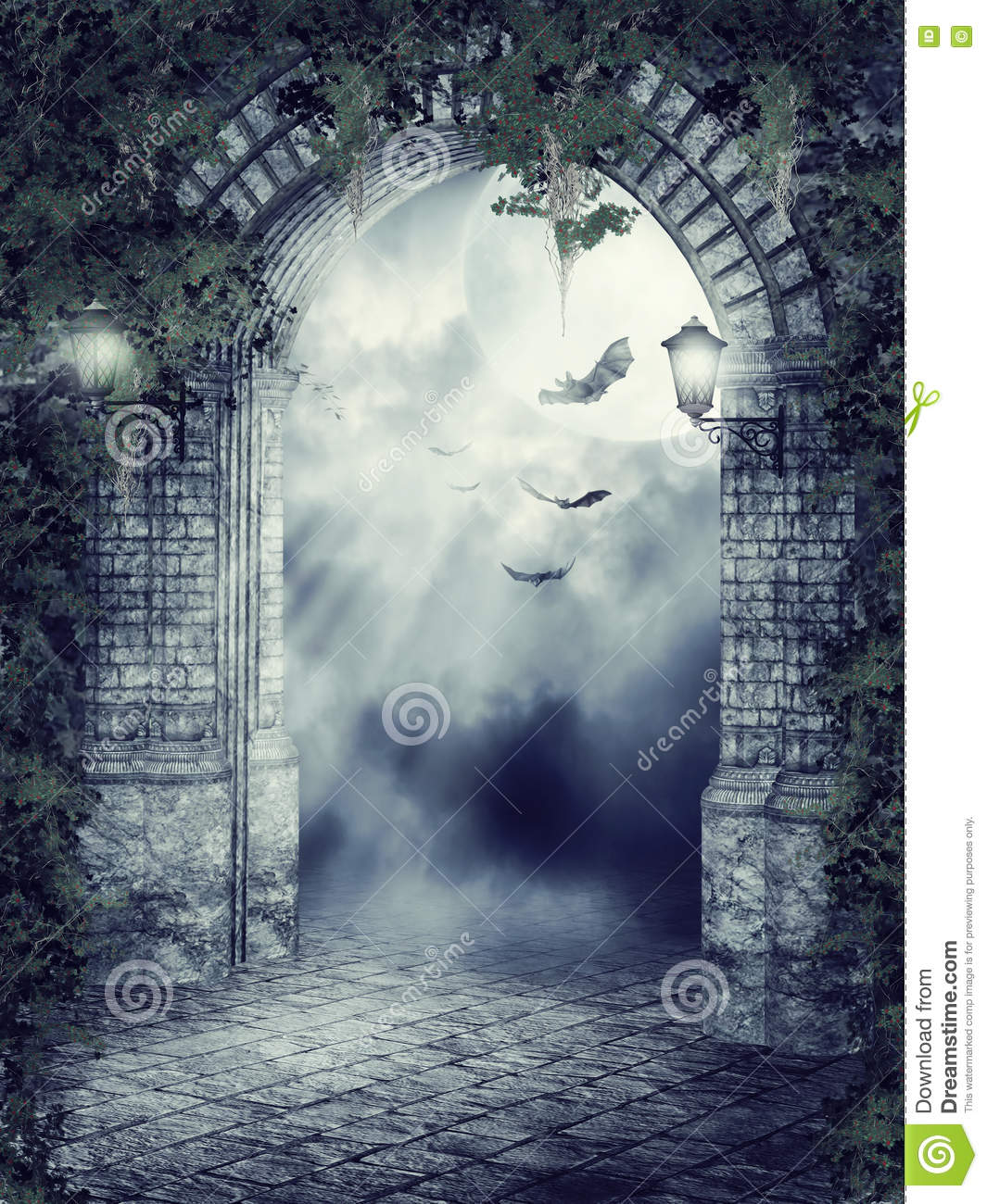 Fantasy gate with bats