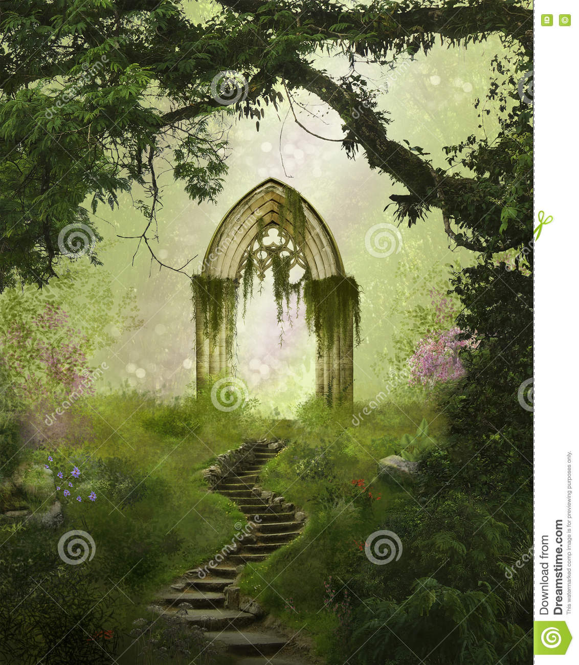 Fantasy gate in the forest