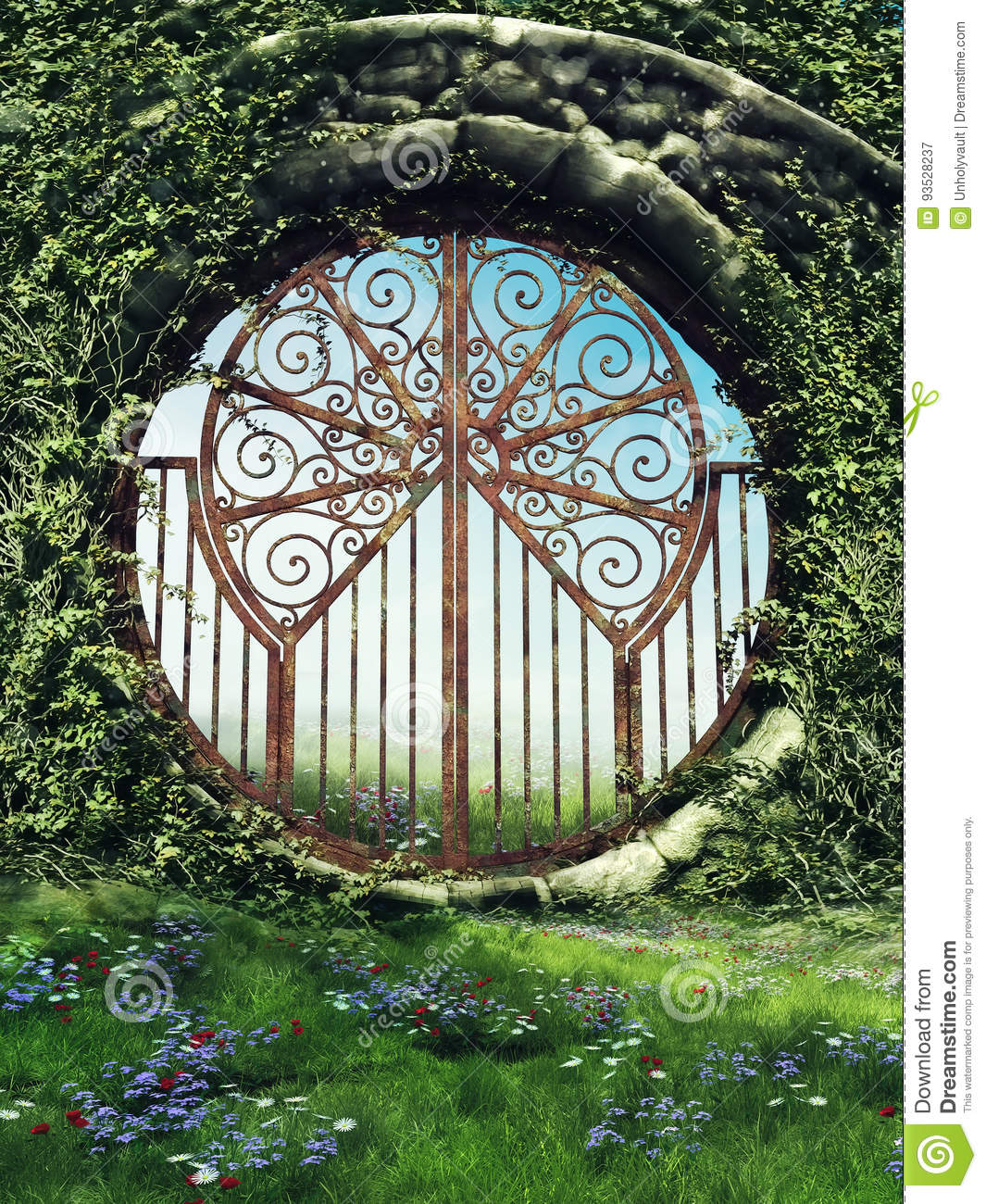 Fantasy gate in a garden