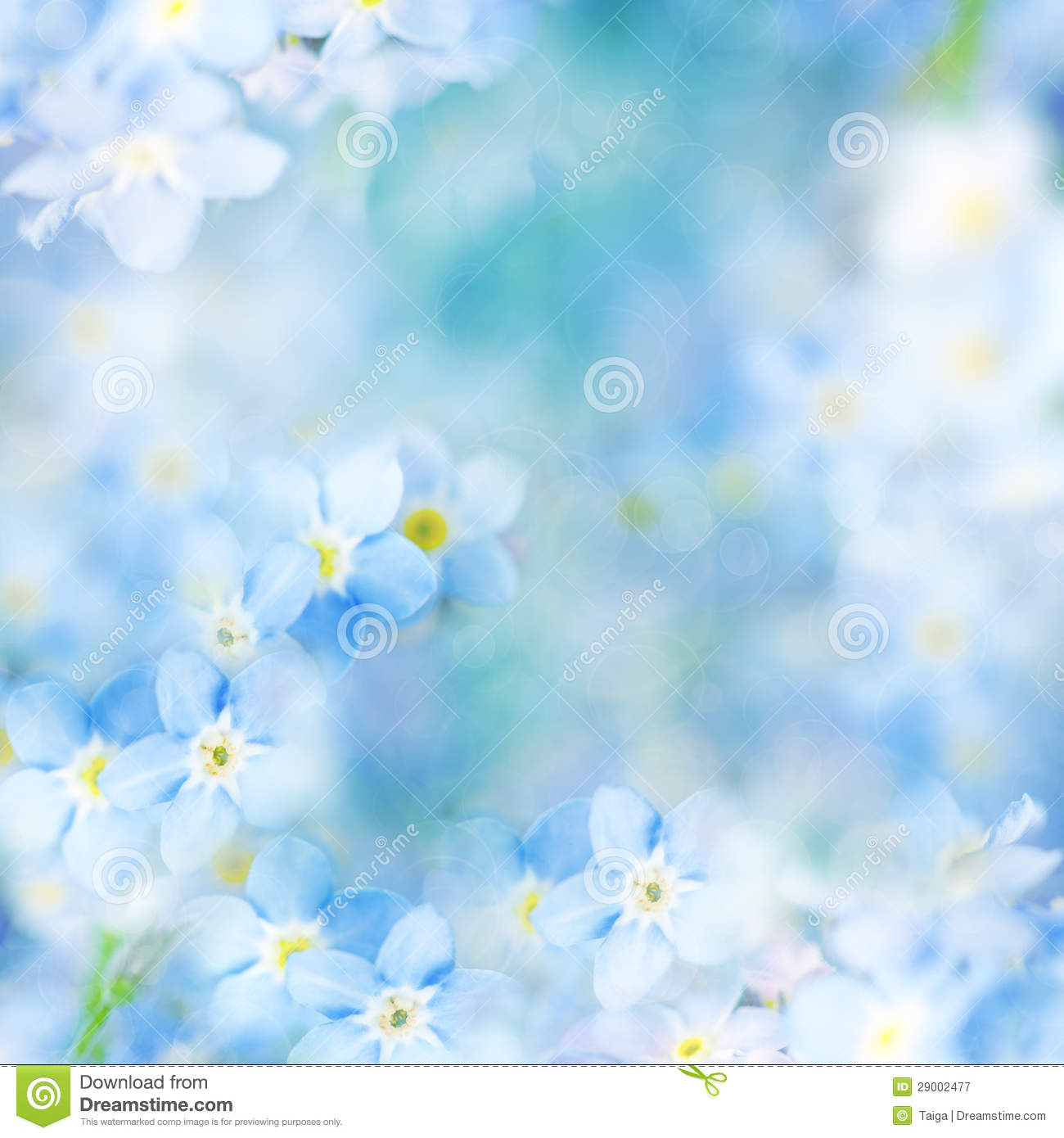 Fantasy Gentle Floral Background Blue Flowers Defocused Royalty Free Stock Photography