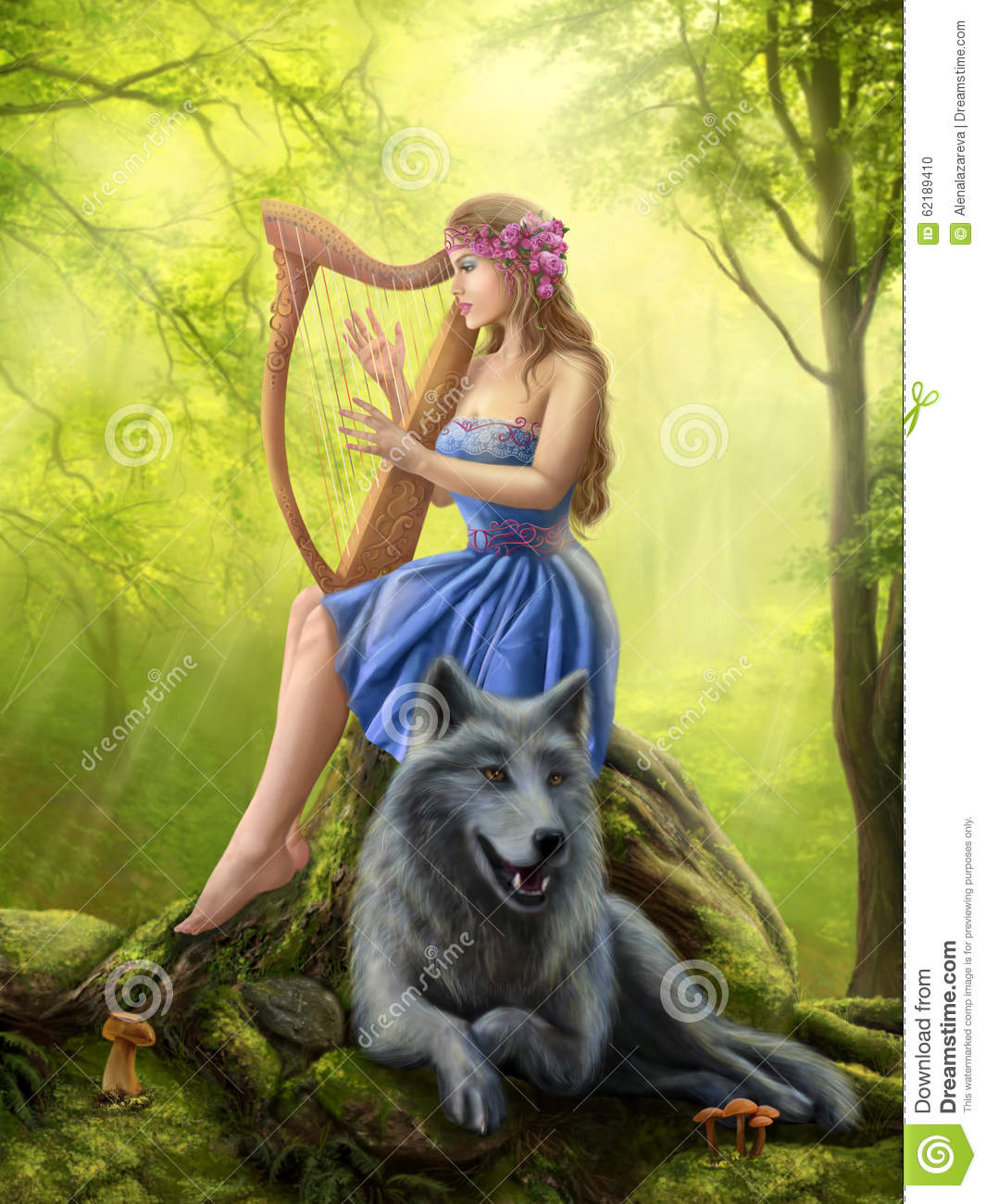 Fantasy Girl Fairy And Friend Wolf Plays A Harp Stock