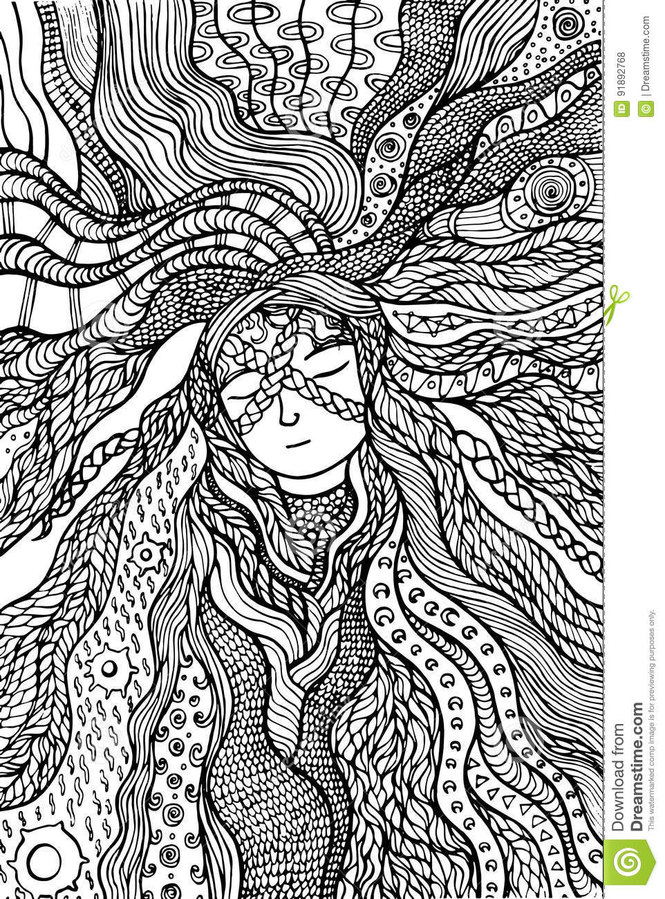 fantasy hair coloring page stock vector image 91892768