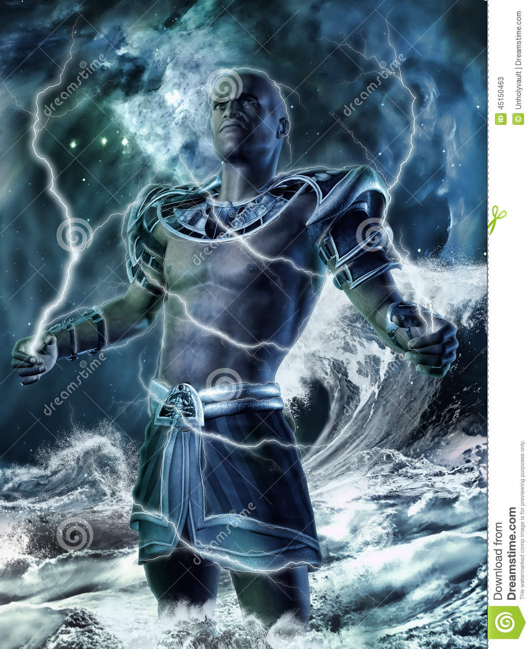 Fantasy God With Lightning Bolts Stock Illustration