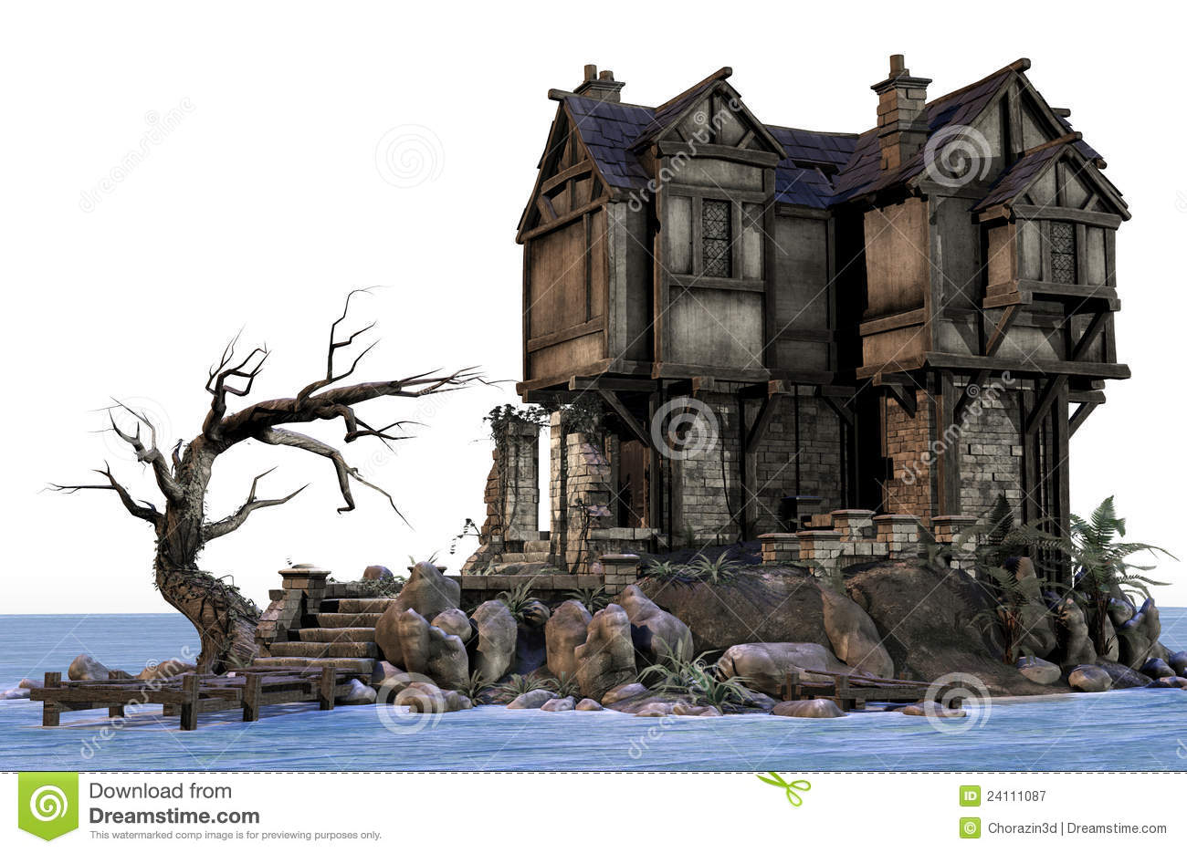 fantasy house by the water royalty free stock photography