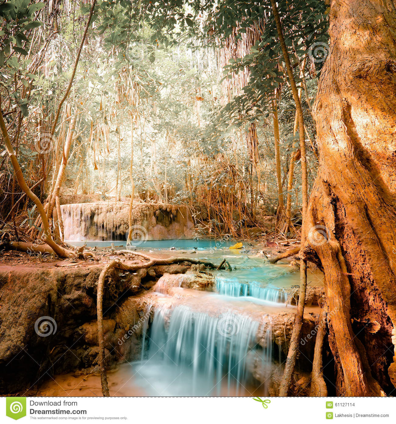 Nature Images 2mb: Fantasy Jangle Landscape With Turquoise Waterfall Stock