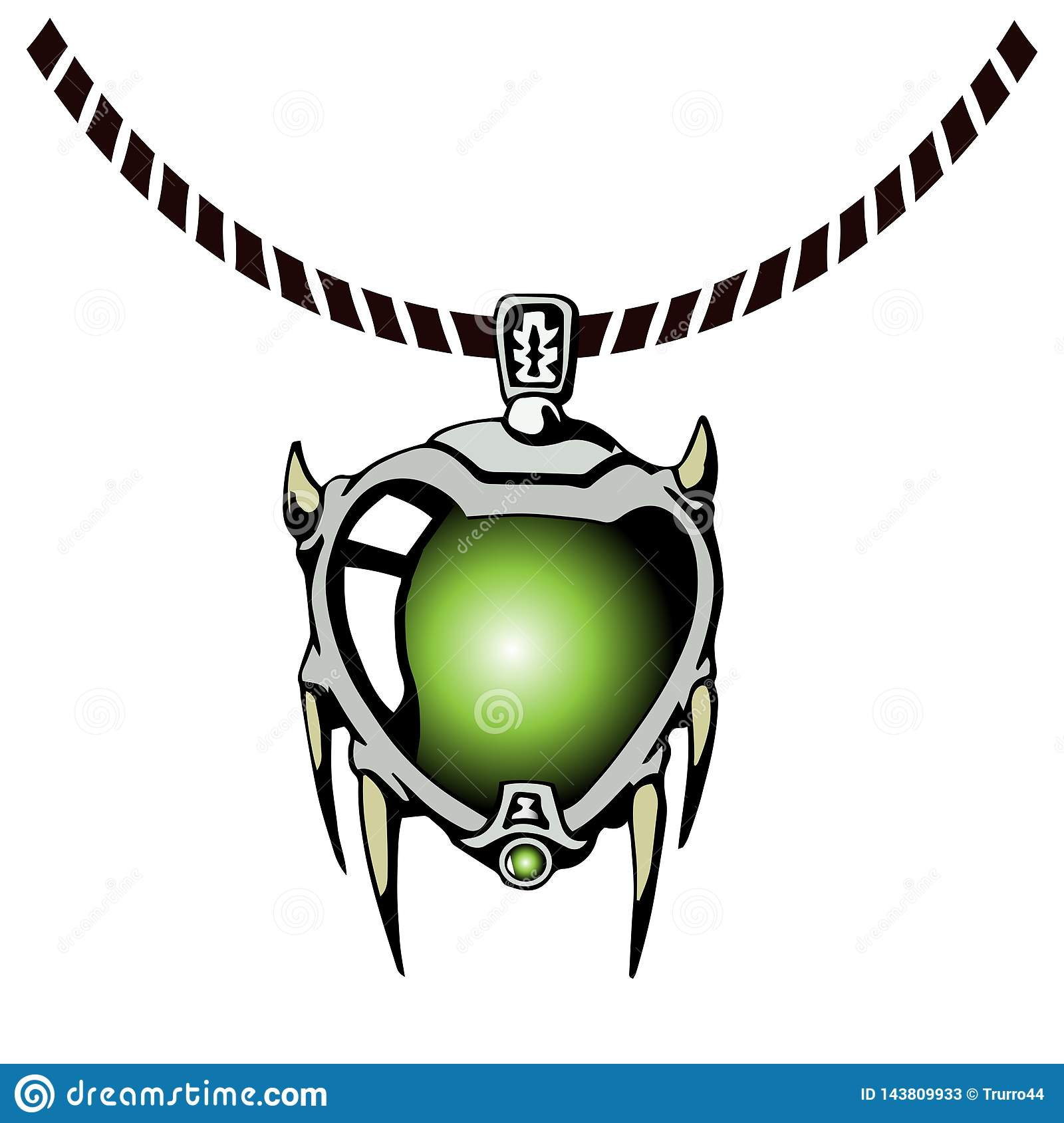 Fantasy Jewelry Pendant For Game Design Stock Vector