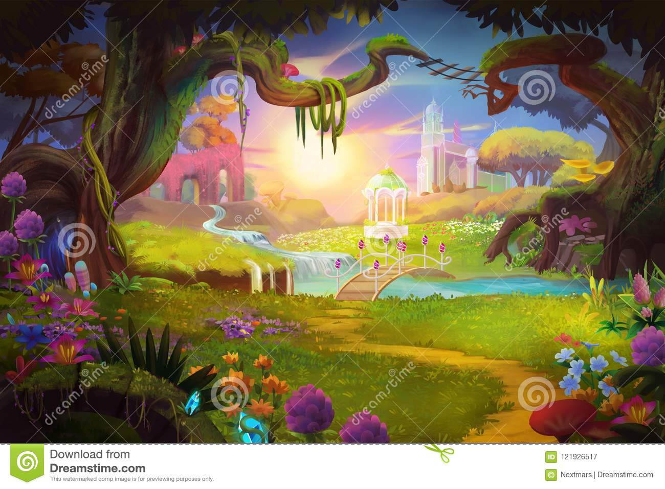 fantasy land grass and hill river and tree with