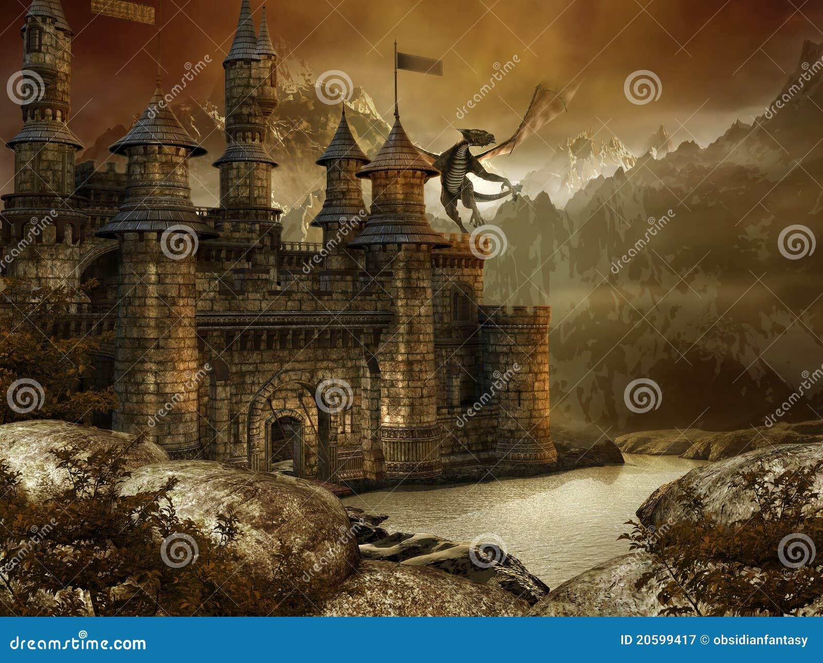 Fantasy landscape with a castle