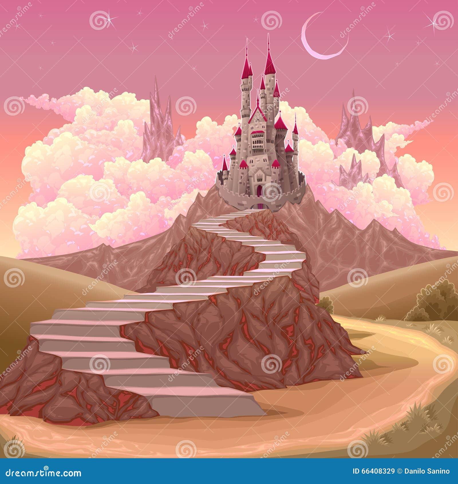 fantasy landscape with castle stock vector