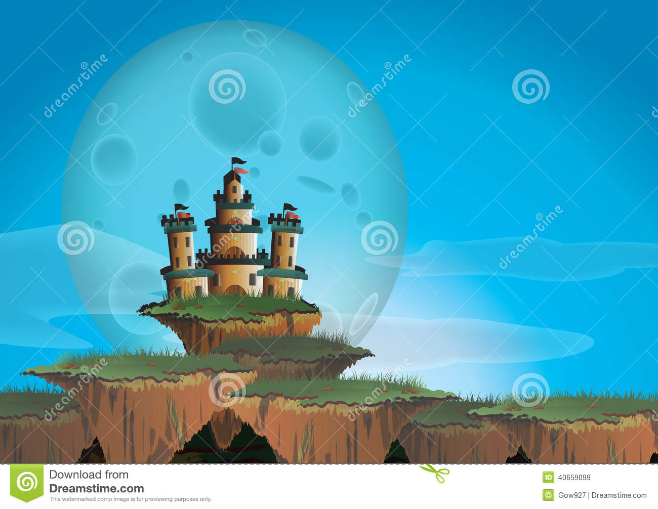 Fantasy Landscape With Castle On A Floating Island Stock
