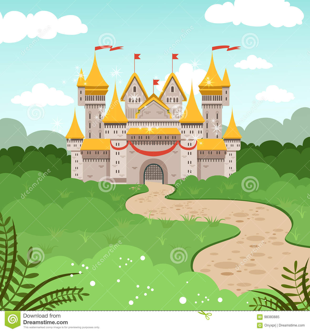 Fantasy landscape with fairytale castle. Vector illustration in cartoon style