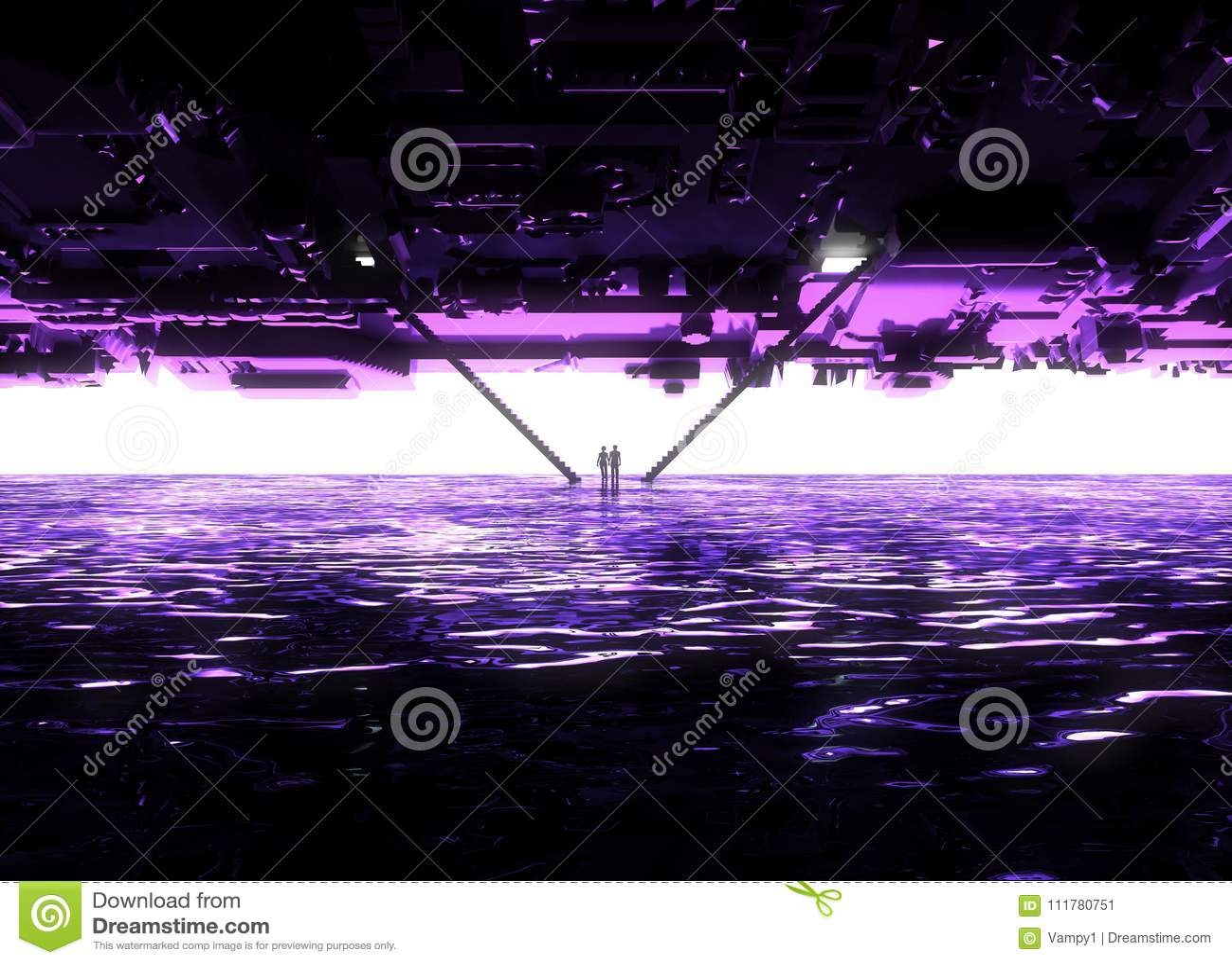 Fantasy landscape, fissure, darkness, light, sun, people in backlight in a science fiction landscape, big light portal, stairs