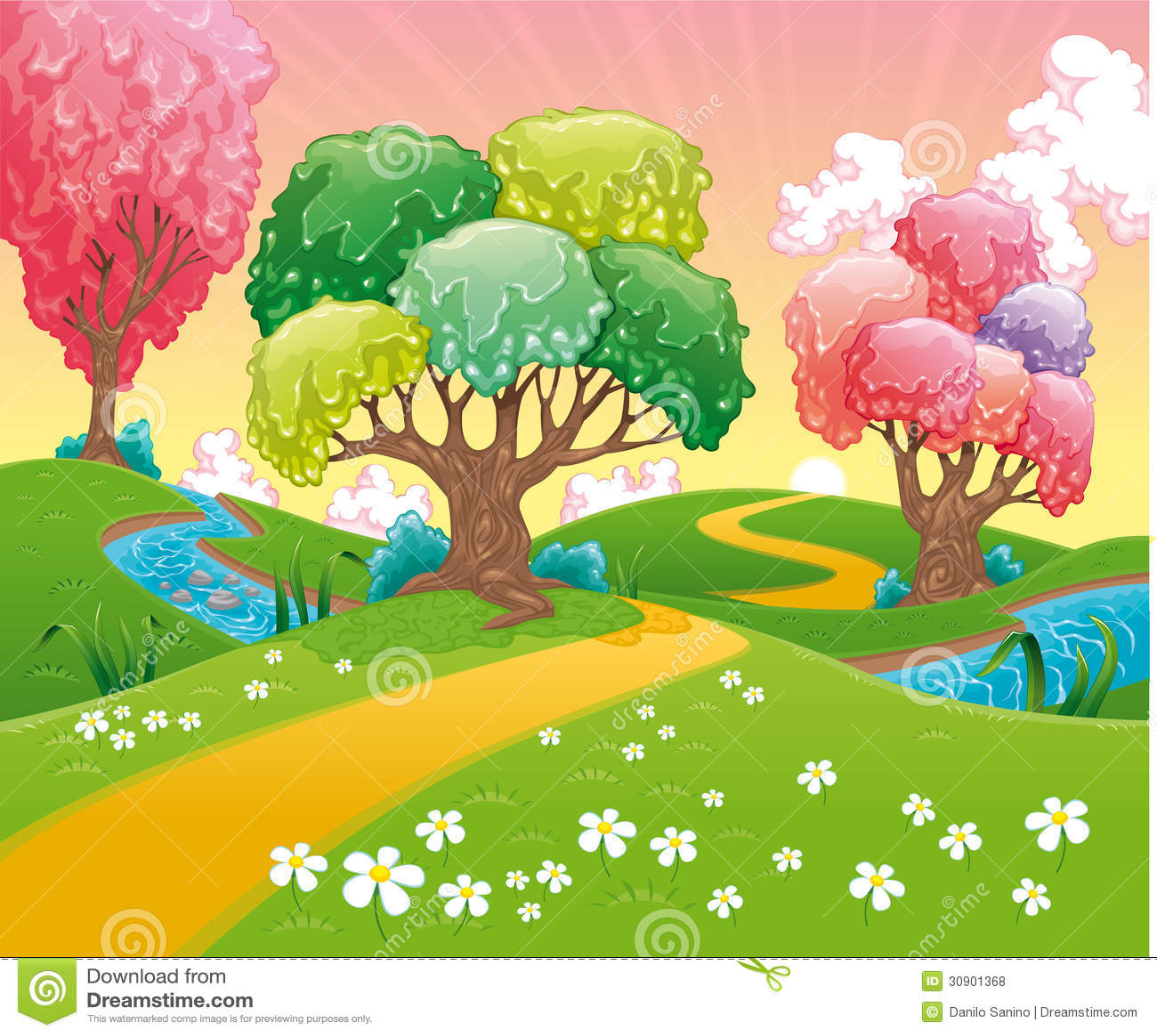 Landscape Illustration Vector Free: Fantasy Landscape. Stock Vector. Illustration Of