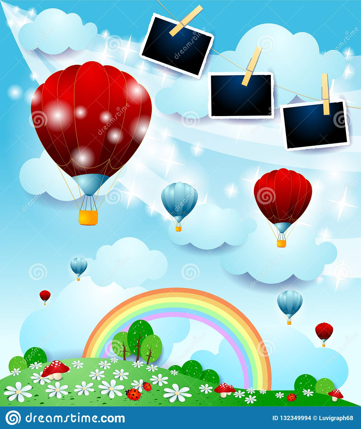 Fantasy Landscape With Hot Air Balloons And Photo Frames Stock