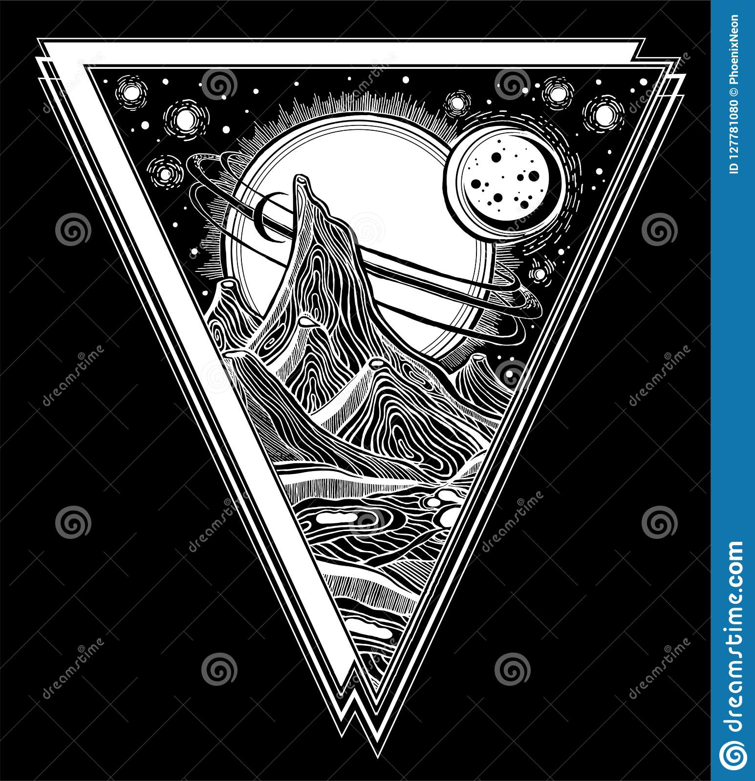 ece8ea950 Fantasy linear alien landscape with mountains, stars, Jupiter and sun.  Another planet. Tattoo art. Infinite space, sci-fi symbols, travel,  futurism.