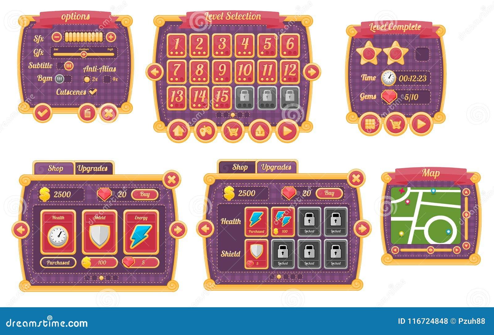 Fantasy Magic Game UI Set stock illustration  Illustration
