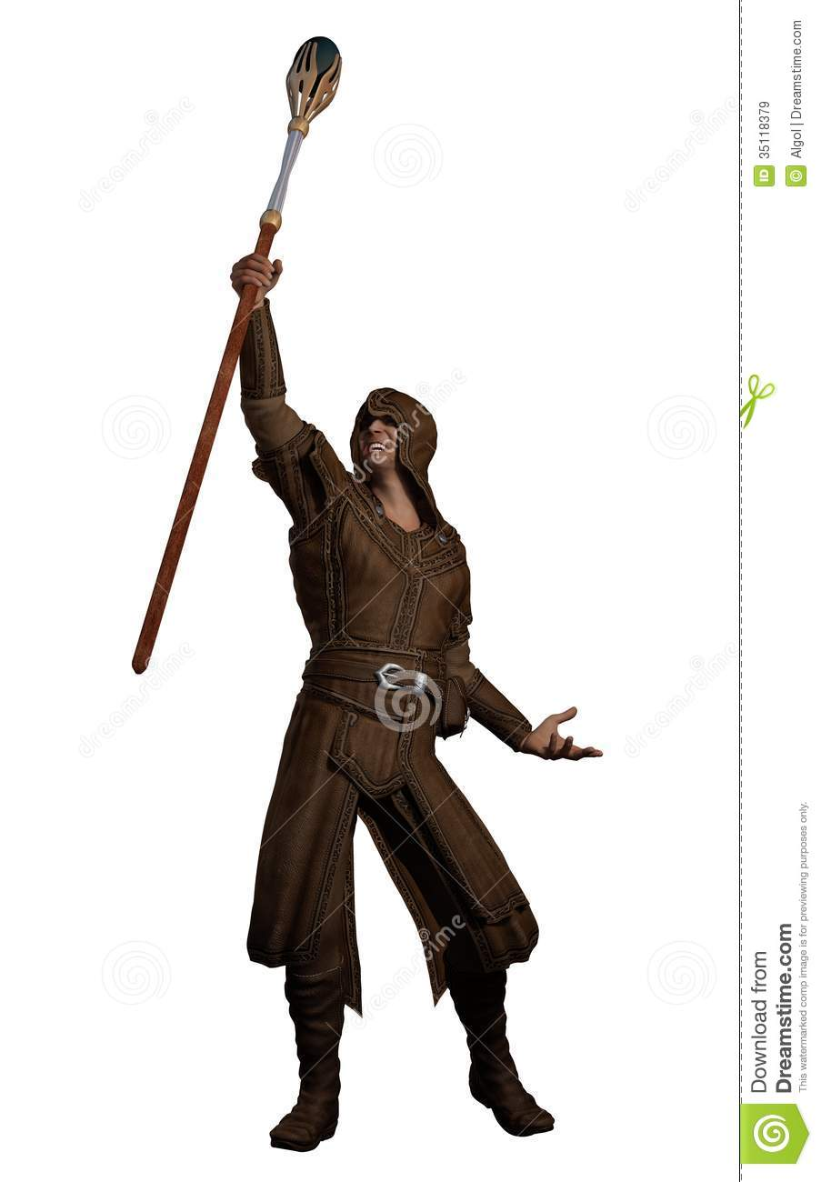 Fantasy Magician With Magic Summoning Staff Royalty Free Stock Images ...