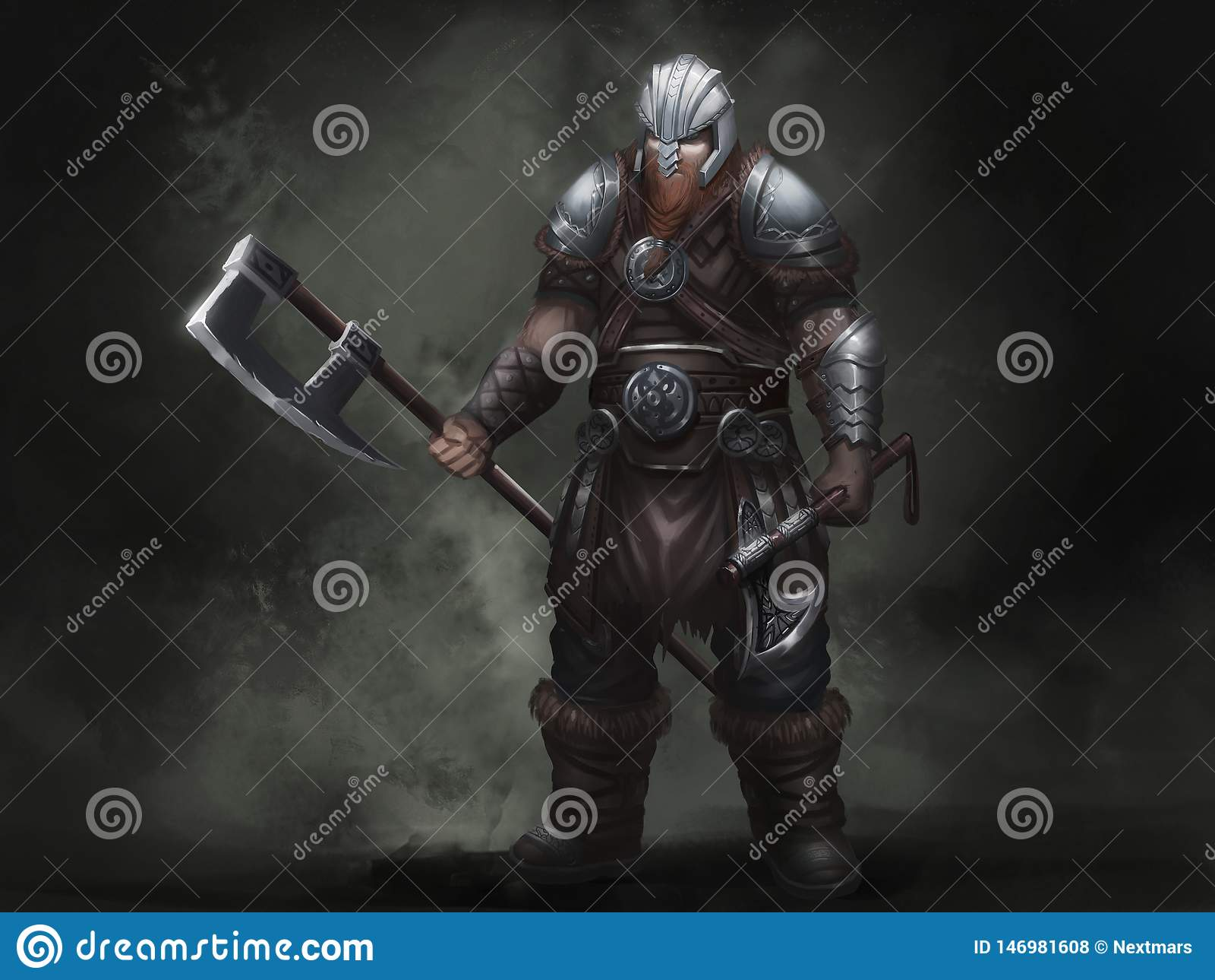 Fantasy Norse Viking. Warrior Character Design. Realistic Illustration