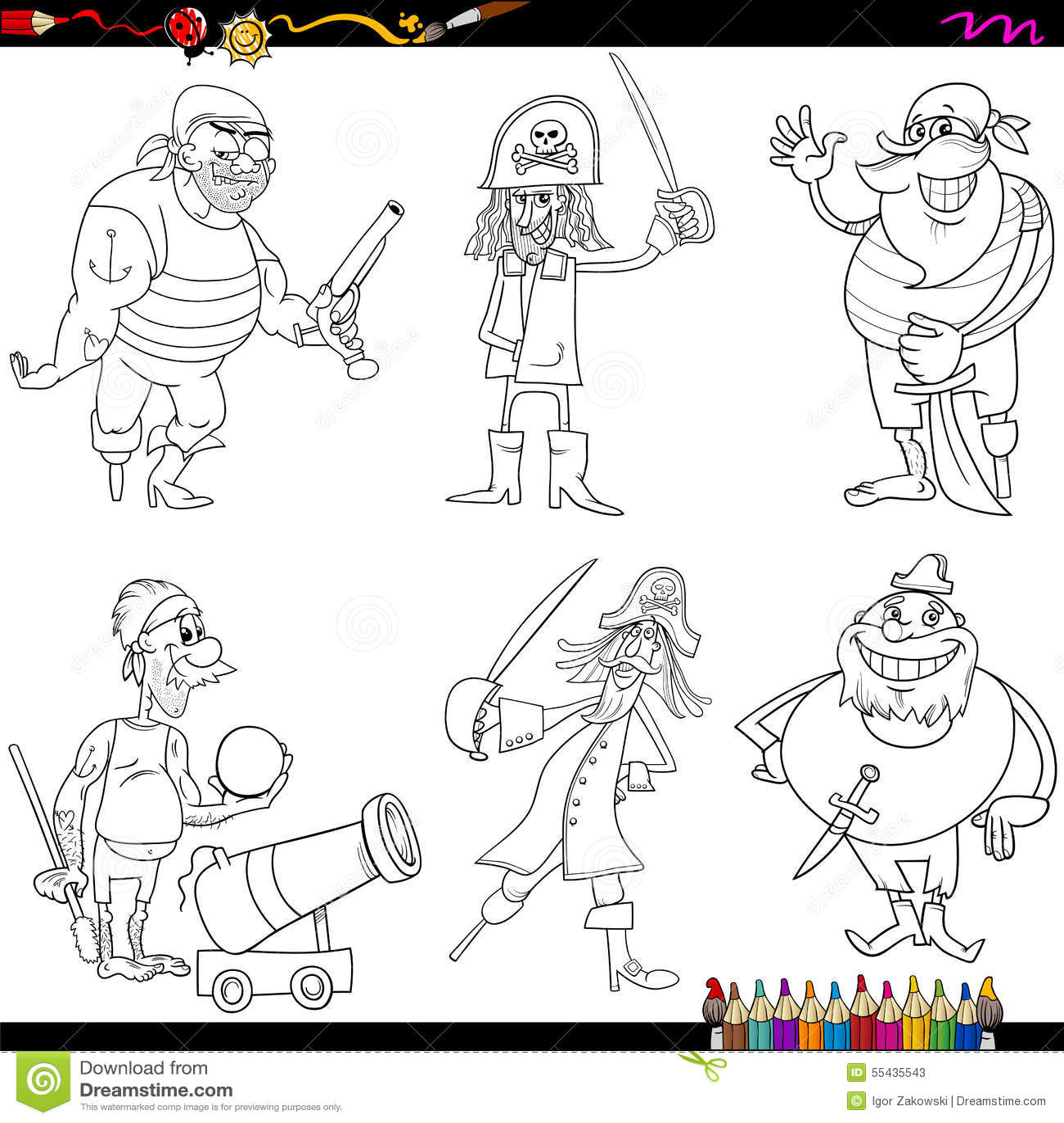 Fantasy Pirates Cartoon Coloring Page Stock Vector