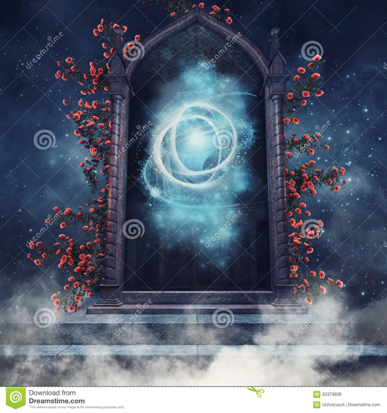 fantasy portal with roses stock photography