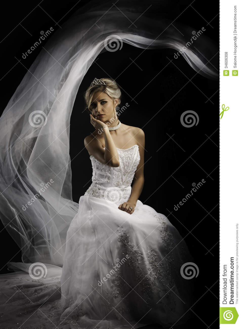 A Beautiful African: Fantasy Portrait Of A Beautiful Blonde Bride Stock Photo