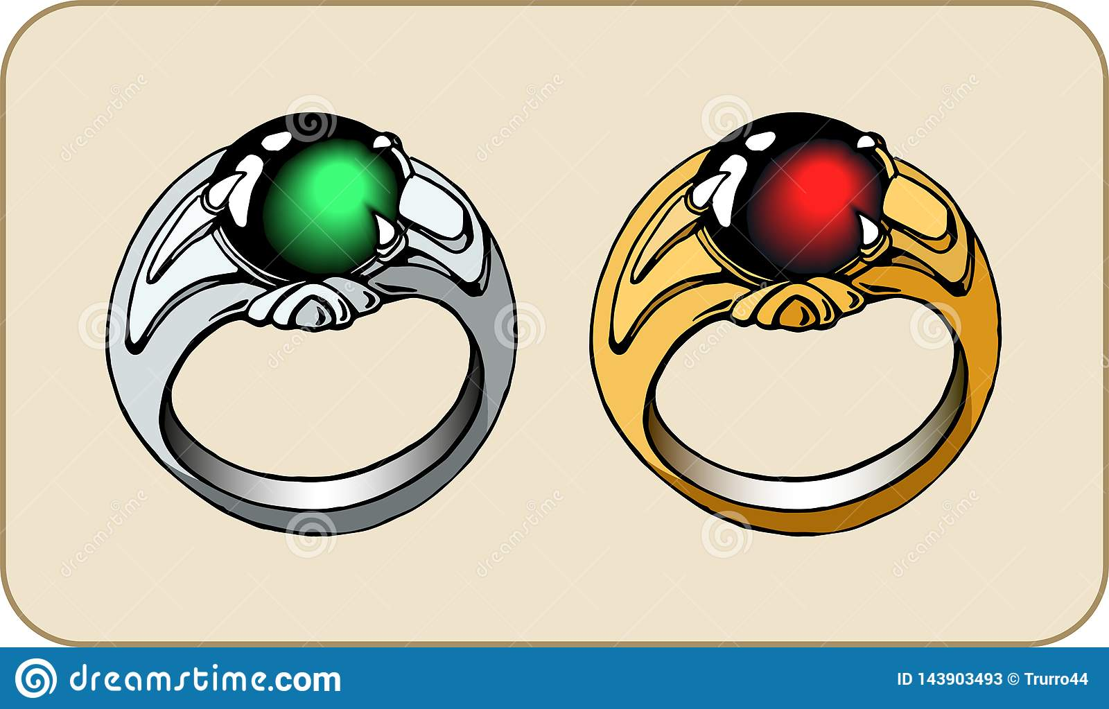 Fantasy ring with a stone. For game design