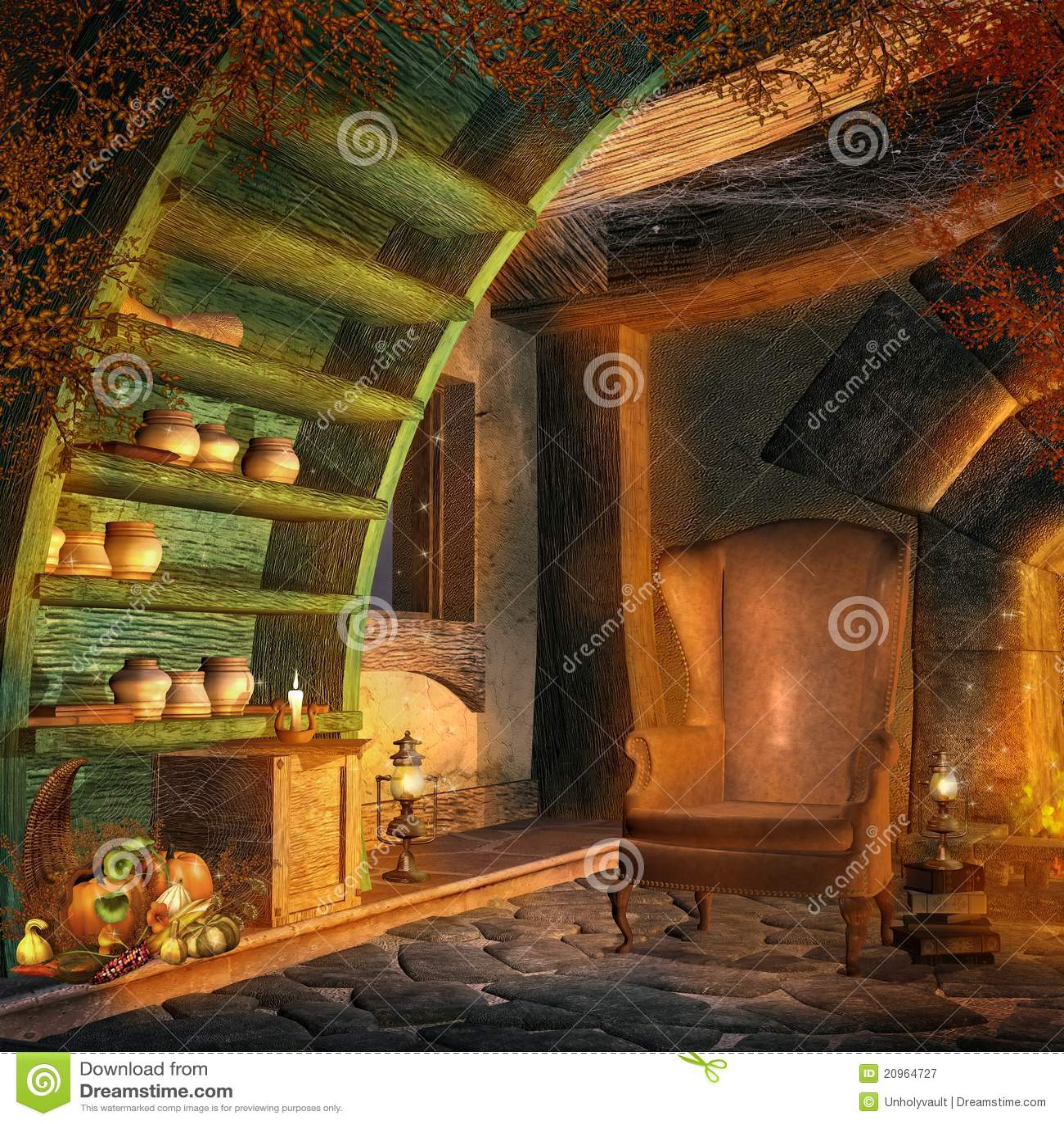 Fantasy Room With Cornucopia Stock Illustration