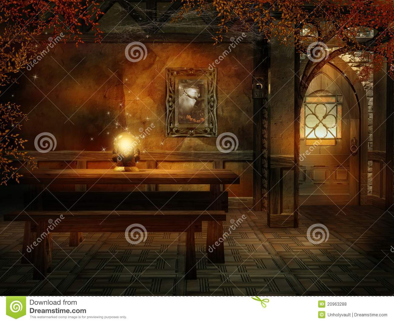 Fantasy Room With A Magic Crystal Stock Illustration