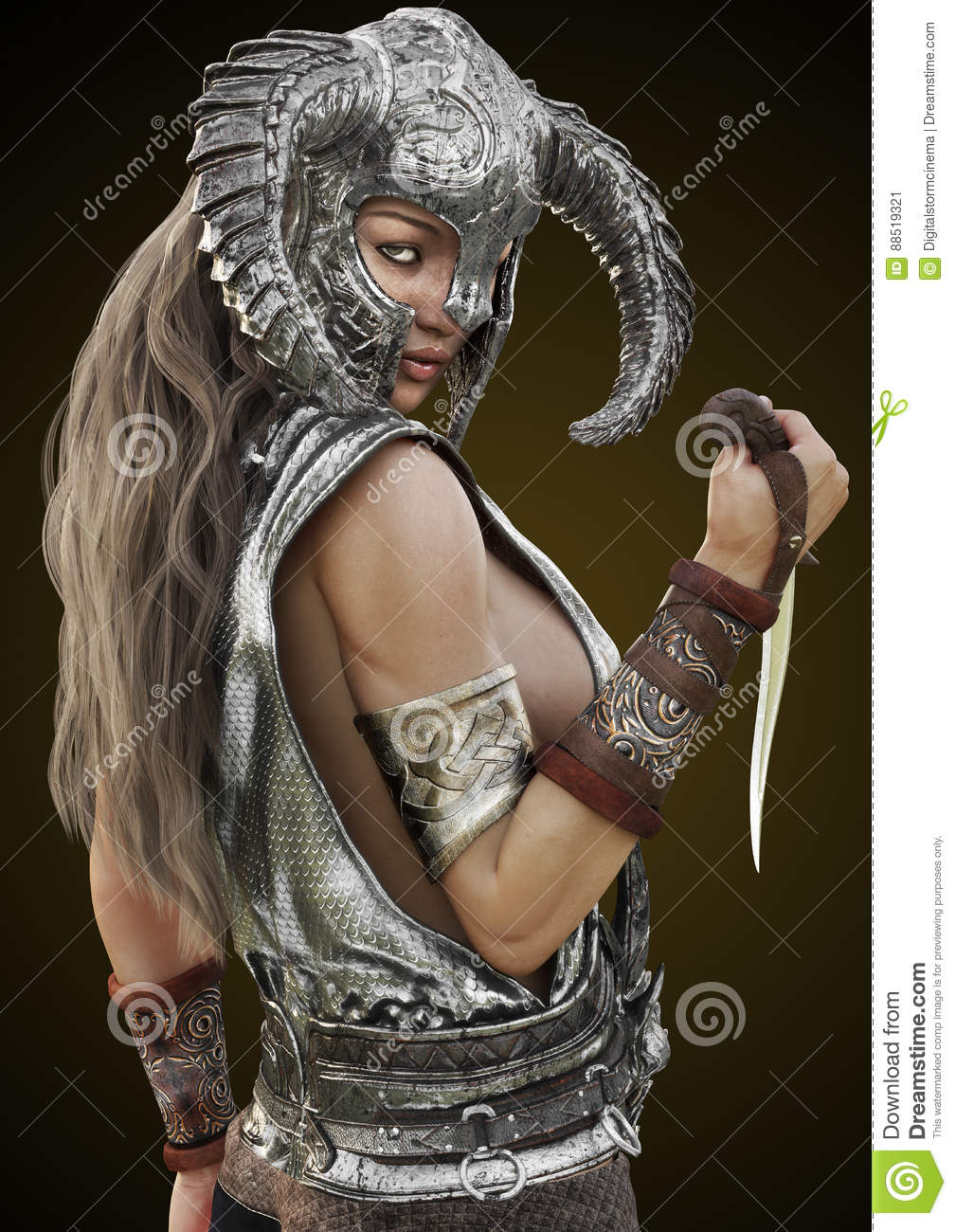 Fantasy rouge warrior female posing with helmet and dagger on a gradient background.