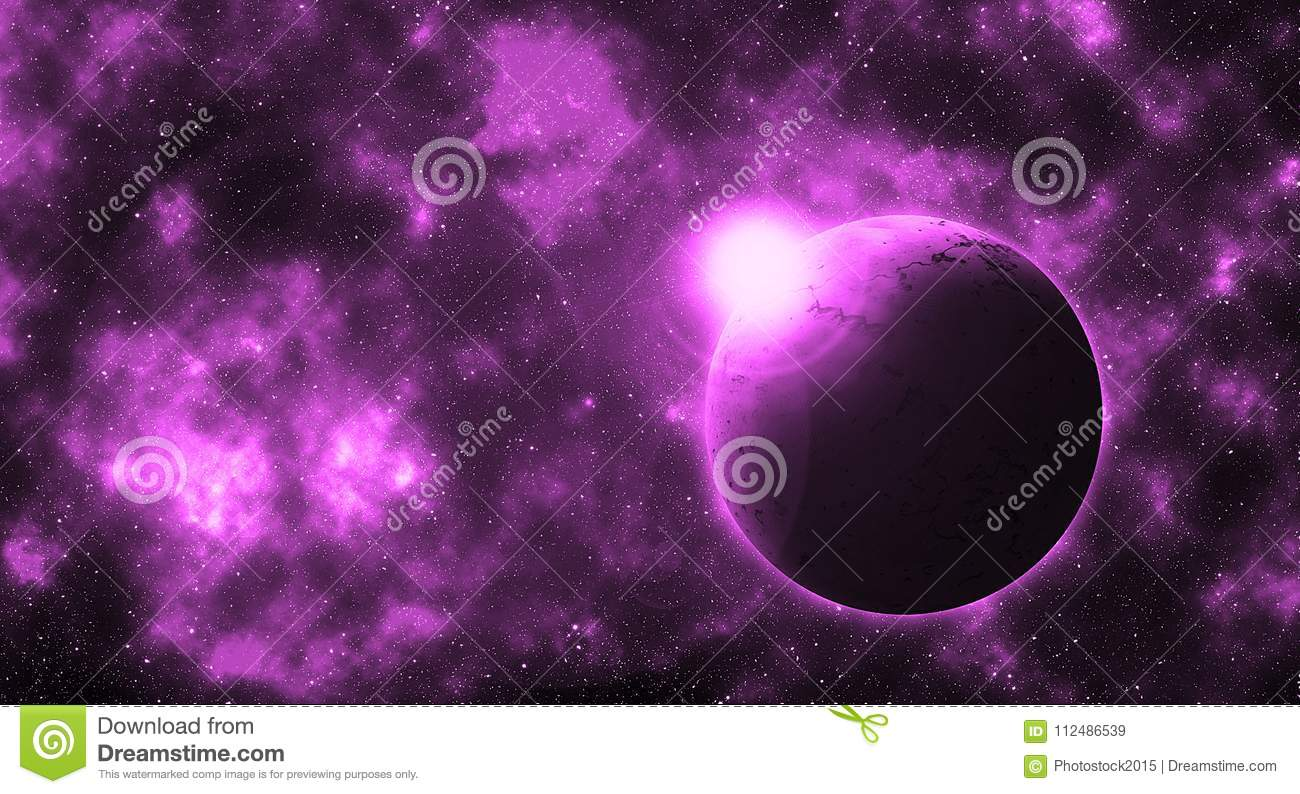 fantasy round planet in violet future galaxy stock vector