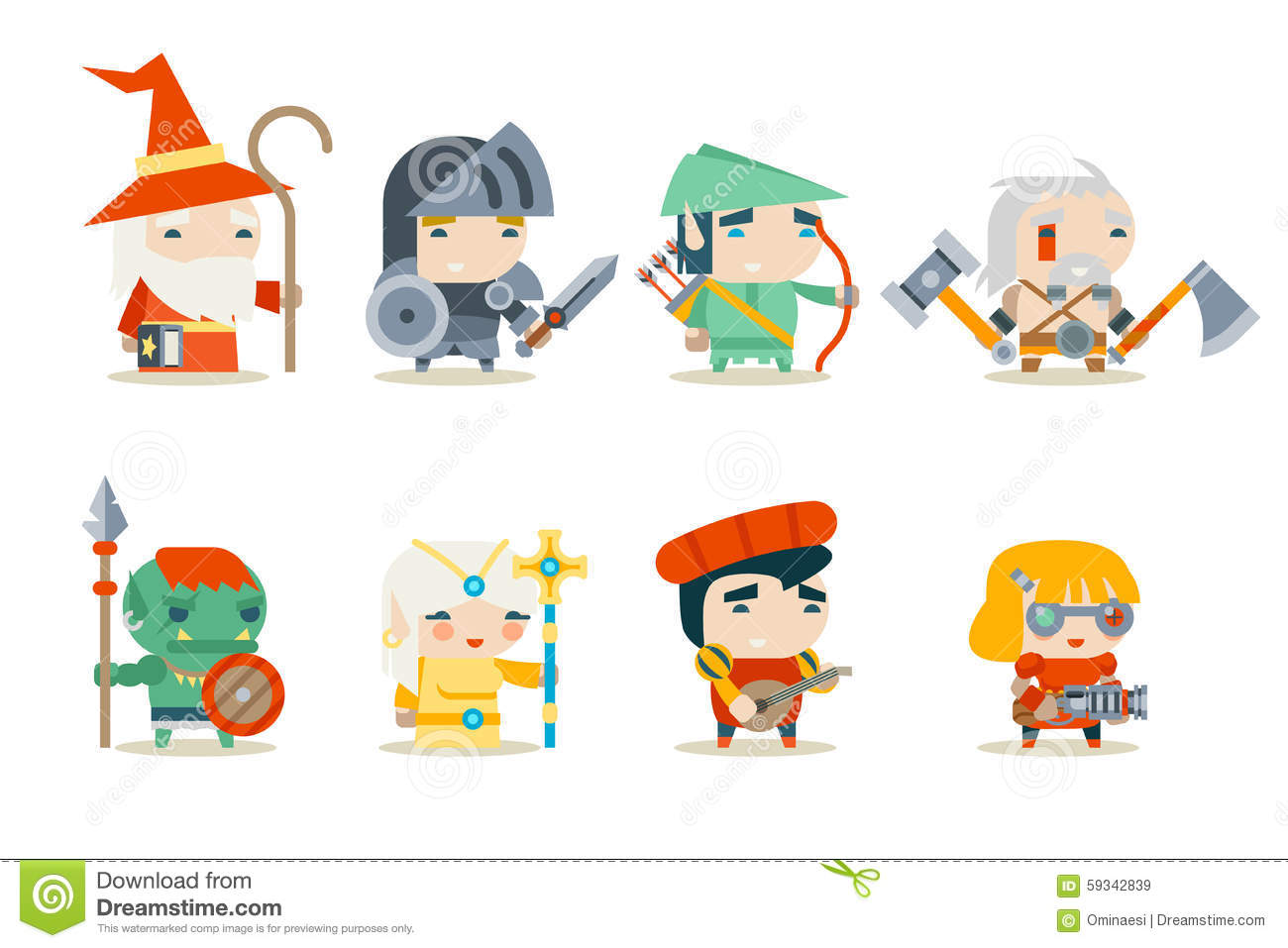 fantasy rpg game character icons set vector stock vector