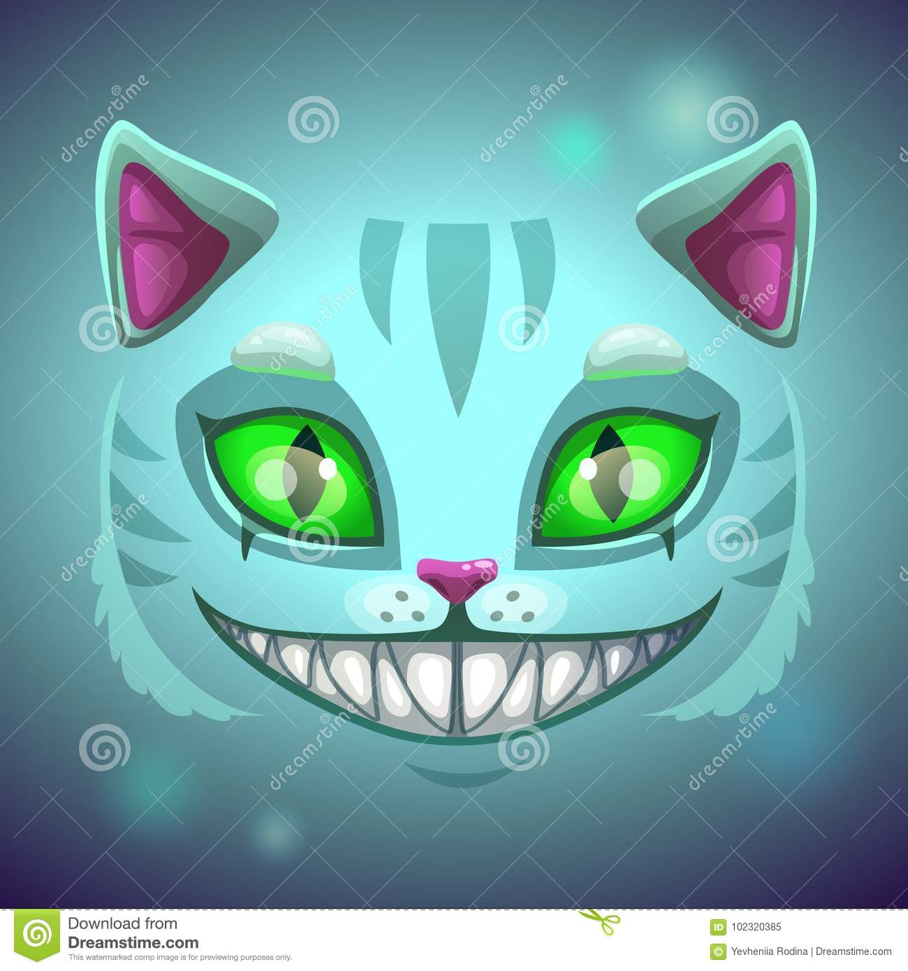 Fantasy Scary Smiling Cat Face Stock Vector Illustration Of