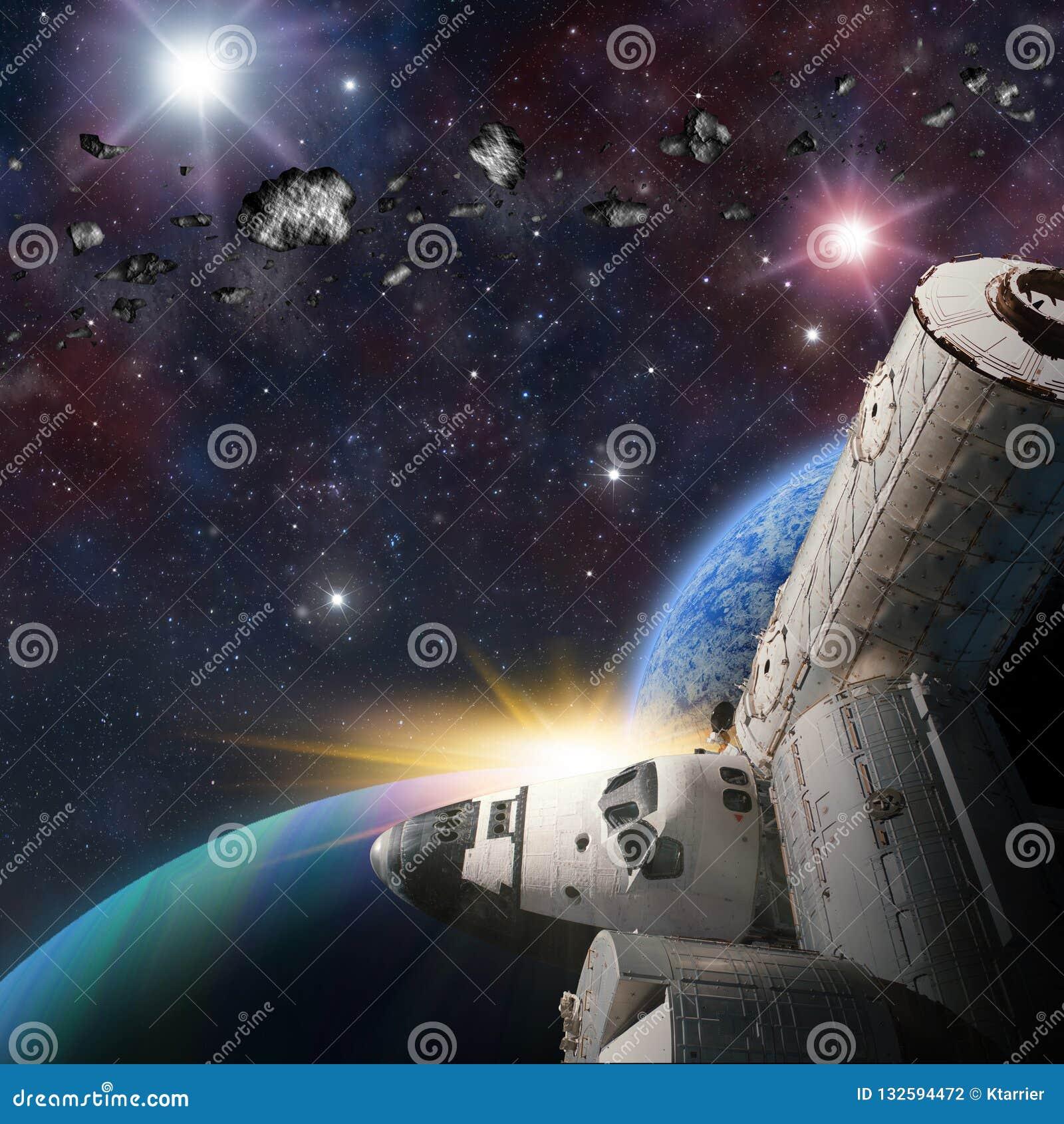 Fantasy scene of Shuttle- Space Station near alien planet