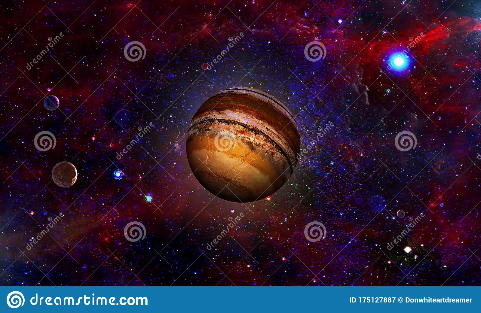 Brown Exoplanet And Moons Stock Image Image Of Starfield 175127887