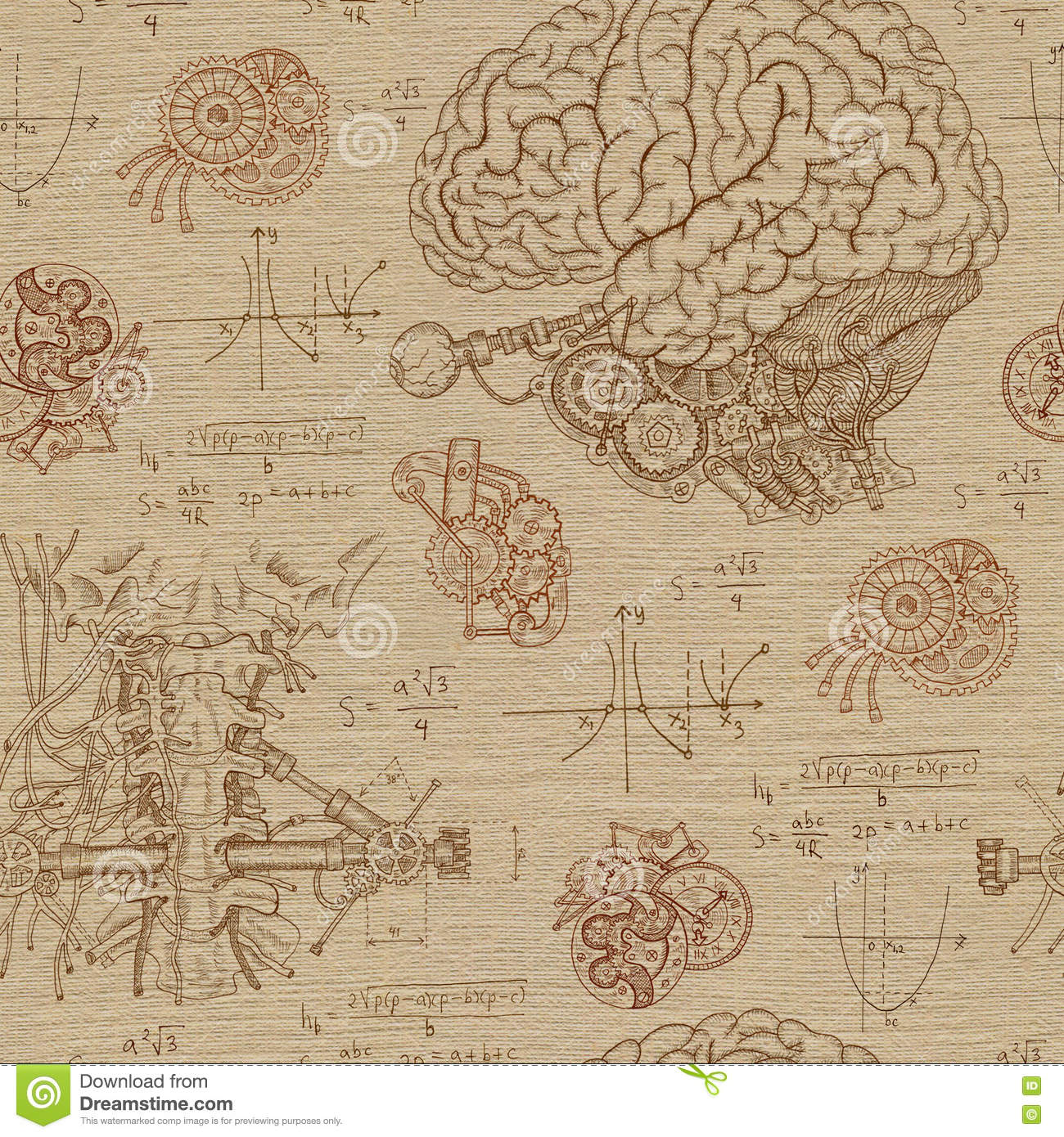 Fantasy seamless background with brain, throat and mechanisms