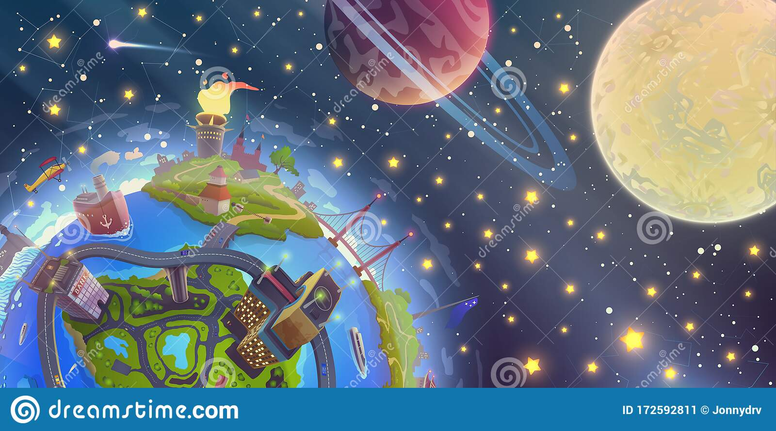 Fantasy Space Landscape With Magic 3d Earth Over Night Sky With Stars Moon And Planets Illustration In Vector Blue Globe Drawing Stock Vector Illustration Of Nature Culture 172592811