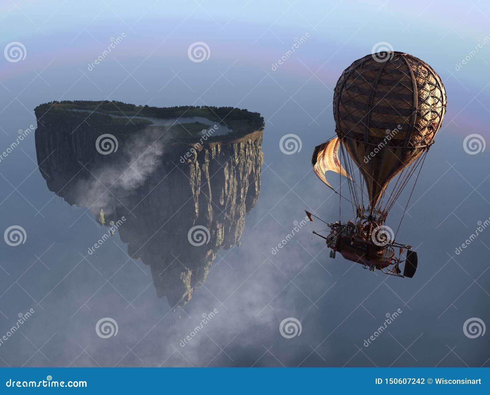 Fantasy Steampunk Floating Island Balloon