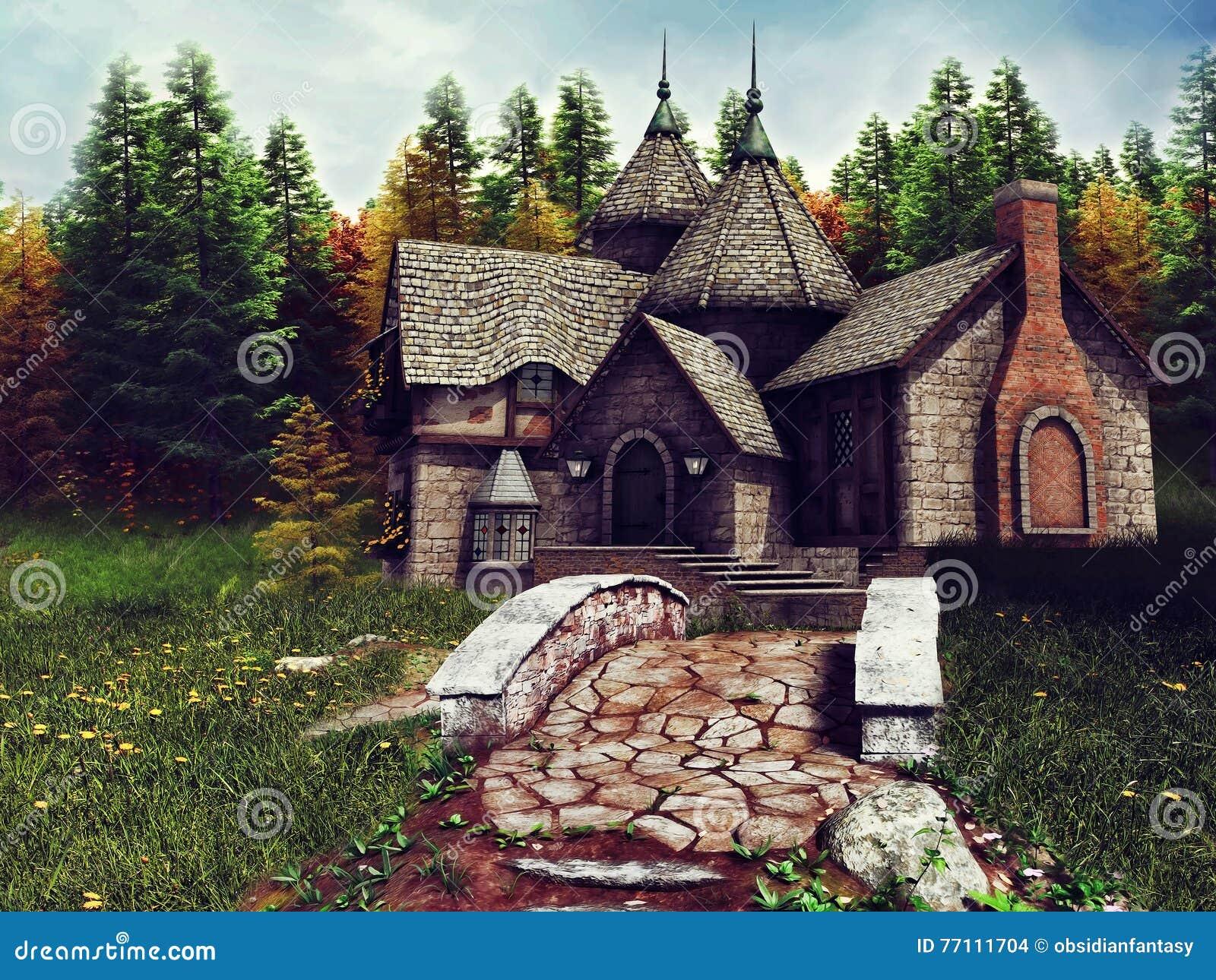 Fantasy Stone Cottage Stock Illustration Image Of House