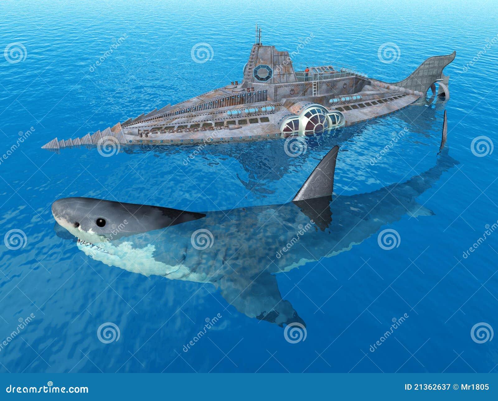 Great white shark submarine