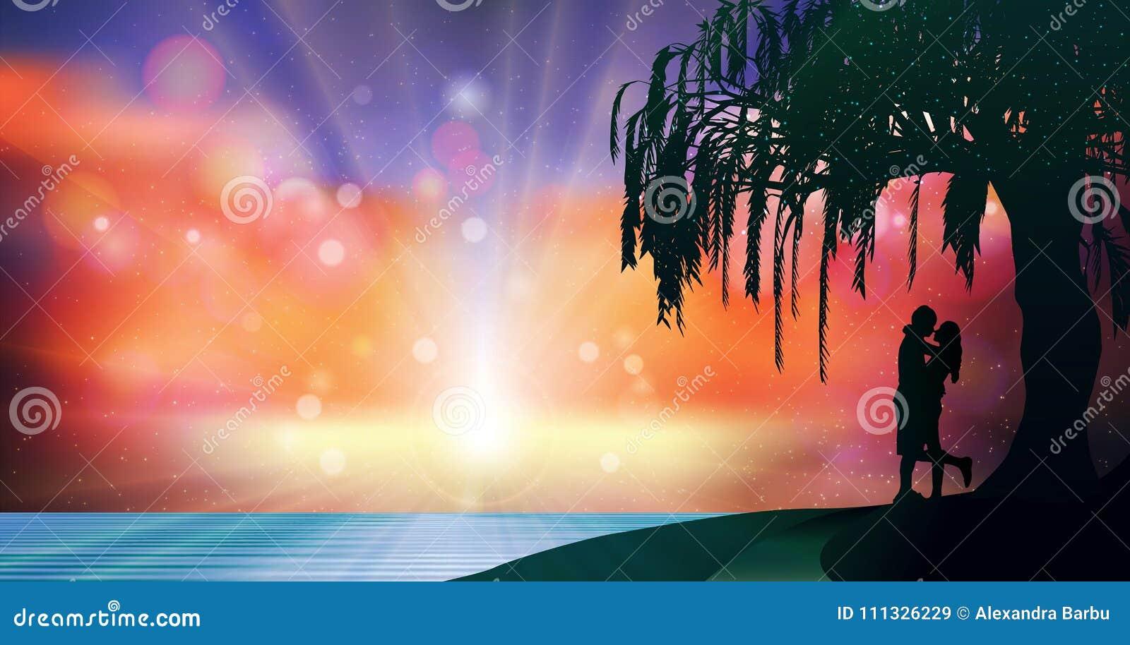 Fantasy Surreal Sky Lovers Silhouette Romantic Magic Wallpaper